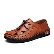 Masculino sapatos Pele Verão Conforto Sandálias Cadarço Para Casual Preto Amarelo Marron