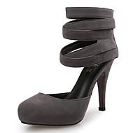 baratos Sapatos Femininos-Mulheres Sapatos Flocagem Primavera / Outono Conforto / Inovador Saltos Salto Agulha Ponta Redonda Preto / Cinzento / Roxo / Social