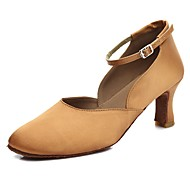 billige Moderne sko-Dame Moderne sko Sateng Høye hæler Kubansk hæl Kan spesialtilpasses Dansesko Mørkebrun / Innendørs