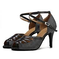 baratos Sapatilhas de Dança-Sapatos de Dança Latina Arrastão / Courino Sandália / Salto Recortes Salto Personalizado Personalizável Sapatos de Dança Preto