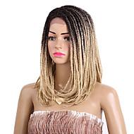 Naisten Synteettiset peruukit Lace Front Keskikokoinen Afro Kinky Keskiruskea Beige Blonde Musta / Burgundy Musta Liukuvärjätyt hiukset