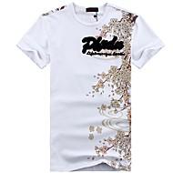 メンズ カジュアル/普段着 夏 Tシャツ,アジアン・エスニック ラウンドネック プリント コットン スパンデックス 半袖 ミディアム