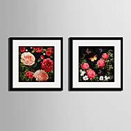 Botanisk Blomstret/Botanisk Landskap Innrammet Lerret Innrammet Sett Veggkunst,PVC Materiale med ramme For Hjem Dekor Rammekunst Stue