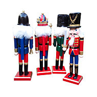 4pcs decorações de natal artesanato de madeira ornamentos decorativos presentes nutcracker estilo fresco