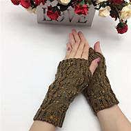 Dame Håndledslængde Halv Finger Handsker Patchwork / Vinter