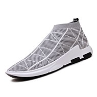 baratos Sapatos Masculinos-Homens Solas Claras Tule Primavera / Outono Solados com Luzes Tênis Caminhada Cinzento Escuro / Cinzento Claro / Vermelho