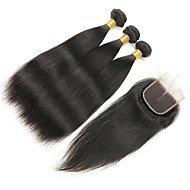 זול -שיער רמי שיער ברזיאלי טווה שיער אדם ישר תוספות שיער 4pcs שחור