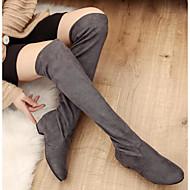Žene Cipele Guma Nubuk koža Zima Modne čizme spušten čizme Čizme Bedro visoke čizme za Kauzalni Crn Sive boje Braon Crvena Plava