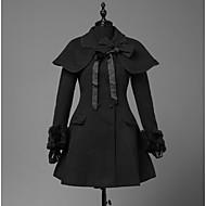 Χαμηλού Κόστους Steampunk®-Πριγκίπισσα Γλυκιά Λολίτα Μαλλί Γυναικεία Κοριτσίστικα Επίστρωση Cosplay Μαύρο Μακρυμάνικο Πάνω από το Γόνατο Κοστούμια Halloween