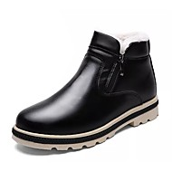 Masculino sapatos Micofibra Sintética PU Inverno Coturnos Botas Botas Cano Médio Para Casual Preto Cinzento Marron