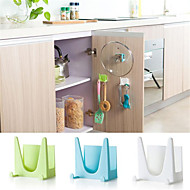 2pcs/Set Plastic Kitchen Pot Pan Cover Shell Cover Sucker Tool Bracket Storage Rack Random Color