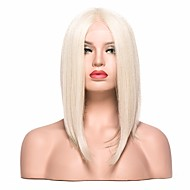 Women Synthetic Wig Lace Front Short Straight Light golden Bob Haircut With Baby Hair Party Wig Cosplay Wig Natural Wigs Costume Wig