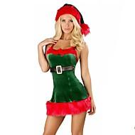 Férias Papai Noel Mrs.Claus Roupa Feminino Natal Festival / Celebração Trajes da Noite das Bruxas Branco Verde Sólido