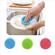 צלחת סיליקון כביסה ספוג scrubber רך ניקוי antibacterial מברשת כלי מטבח (צבע אקראי)