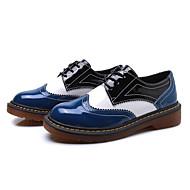 נשים נעליים PU אביב סתיו נוחות נעלי אוקספורד עבור קזו'אל שחור כחול