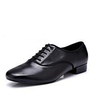 billige Men's Dance Shoes-Herre Moderne sko Syntetisk Mikrofiber PU Høye hæler Lav hæl Dansesko Svart