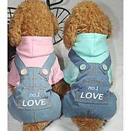 Hund Jumpsuits Hundetøj Afslappet/Hverdag Bogstav & Nummer Blå Lys pink Kostume For kæledyr