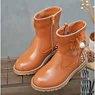 Para Meninas sapatos Couro Outono Inverno Botas de Neve Botas Para Casual Preto Marron Vermelho