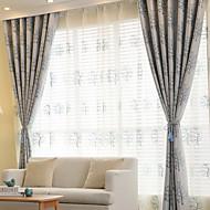 Propp Topp Dobbelt Plissert Blyant Plissert Window Treatment Moderne , Blomstret Geometrisk Hul Stue Polyesterblanding Materiale Gardiner