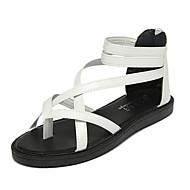 Feminino Sapatos Couro Ecológico Verão MaryJane Sandálias Sem Salto Ponta Redonda Cadarço Para Casual Branco Preto