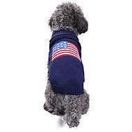 Χαμηλού Κόστους Χριστουγεννιάτικα κοστούμια για κατοικ-Γάτα Σκύλος Στολές Παλτά Πουλόβερ Ρούχα για σκύλους Σημαία American / ΗΠΑ Μπλε Spandex Μείγμα Λινού & Βαμβακιού Chinlon Στολές Για