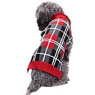 Χαμηλού Κόστους Χριστουγεννιάτικα κοστούμια για κατοικ-Γάτα Σκύλος Στολές Παλτά Πουλόβερ Χριστούγεννα Ρούχα για σκύλους Καρό/Τετραγωνισμένο Βρετανικό Γεωμτερικό Γκρίζο Spandex Μείγμα Λινού &