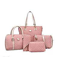 お買い得  バッグ-女性用 バッグ PU バッグセット 5個の財布セット パターン/プリント パープル / コーヒー / スカイブルー