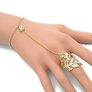 Žene Umjetno drago kamenje Leaf Shape Narukvice kolutovi - Rock Europska Zlato Pink Narukvice Za Party Dnevno