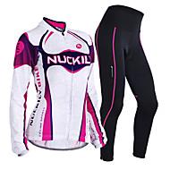 Nuckily Žene Dugih rukava Biciklistička majica s tajicama - Crvena Geometic Bicikl Kompleti odjeće, Ugrijati, Anatomski dizajn,