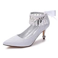 billige Bryllupssko-Dame Sko Blonder / Sateng Vår / Sommer Komfort bryllup sko Spisstå Rhinsten / Sløyfe / Perle Hvit / Krystall / Gummi / Bryllup