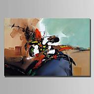 billiga Abstrakta målningar-Hang målad oljemålning HANDMÅLAD - Abstrakt Enkel Duk / Sträckt kanfas