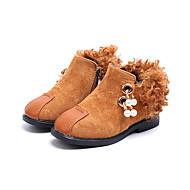 女の子 靴 PUレザー 冬 コンフォートシューズ ファッションブーツ ブーティー フラワーガールシューズ ブーツ ブーティー/アンクルブーツ イミテーションパール ジッパー タッセル のために カジュアル ブラック レッド ダークブラウン