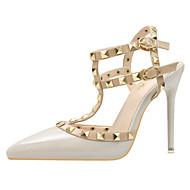 baratos Sapatos Femininos-Mulheres Sapatos Couro Ecológico Primavera / Verão Conforto / Inovador Saltos Dedo Apontado Tachas / Presilha Roxo / Vermelho / Vinho