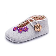 cheap Baby Shoes-Girls' Shoes Fabric Spring Fall Crib Shoes First Walkers Comfort Flats Appliques Gore for Casual Party & Evening Gray Pink