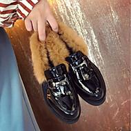 Feminino Sapatos Borracha Inverno Conforto Oxfords Ponta Redonda Para Preto Castanho Escuro