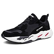 cheap Women's Athletic Shoes-Women's Shoes Leather Tulle Spring Fall Comfort Athletic Shoes Running Shoes Round Toe for Athletic Casual Black Red Green