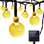 billiga Belysning-solsträngslampor 8 lägen 23ft 30leds kristallkula stränglampor för trädgård sommarlov fest varmvit