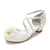 cheap Kids' Shoes-Girls' Shoes Silk Spring / Fall Tiny Heels for Teens / Flower Girl Shoes / Ankle Strap Heels Rhinestone / Bowknot / Appliques for Wedding