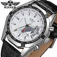 WINNER Heren Modieus horloge Dress horloge Polshorloge Automatisch opwindmechanisme Kalender Leer Band Informeel Cool Zwart