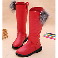 billige -Jente sko PU Vinter Høst Komfort Trendy støvler Støvler til Avslappet Svart Rød Burgunder