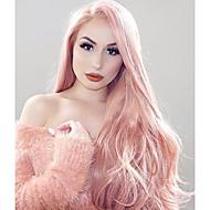 Uniwigs Naisten Synteettiset peruukit Lace Front Pitkä Laineita Pinkki Luonnollinen peruukki Rooliasu peruukki