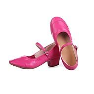 billige Moderne sko-Dame Moderne sko Kunstlær Høye hæler Tvinning Tykk hæl Kan spesialtilpasses Dansesko Svart / Fuksia / Rød