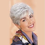 baratos -Mulher Perucas de cabelo capless do cabelo humano Preto Prateado médio Auburn Curto Reto Parte lateral