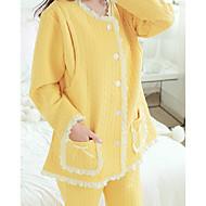 Kvinders Jakkesæt Pyjamas,Kreativ Bomuld Polyester Dame Gul