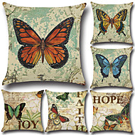 cheap Throw Pillows-6 pcs Cotton/Linen Pillow Case Pillow Cover Euro Traditional/Classic Retro