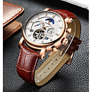 cheap Clearance-Men's Mechanical Watch Swiss Genuine Leather Black / Brown 30 m Water Resistant / Waterproof Calendar / date / day Chronograph Analog Luxury Casual Fashion - Black Brown Two Years Battery Life