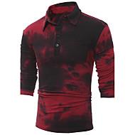 Pánské Tisk Běžné/Denní Čínské vzory Polo Bavlna Spandex Košilový límec Dlouhý rukáv Střední