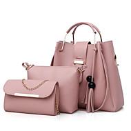Mulher Bolsas Todas as Estações Couro Ecológico Conjuntos de saco 3 Pcs Purse Set Ziper para Casual Vermelho Rosa Bege Cinzento Camel