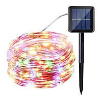 fonte de energia solar luz de corda 10 metros 100 luzes luzes de linha de prata luzes de corda estrela luzes interiores exteriores à prova