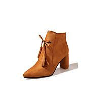 Women's Shoes Nubuck leather Fall Winter Comfort Combat Boots Boots Chunky Heel Pointed Toe Booties/Ankle Boots Tassel(s) Zipper For
